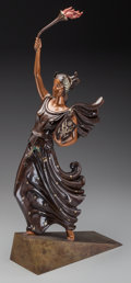 Paintings, An Erté Cold Painted Bronze Sculpture: Liberty, circa 1980. Marks: (artist's cipher to base). 26-1/2 h x 5 w x 1...