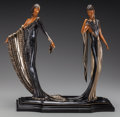 Bronze:Contemporary, An Erté Cold Painted Bronze Sculpture: Duetto, circa 1989.Marks: (artist's cipher), 422/500, c 1989, SEVEN AR...