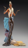 Bronze:Contemporary, An Erté Cold Painted Bronze Sculpture: Copacabana, circa1990. Marks: (artist's cipher), c 1990, CHALK & VERMI...