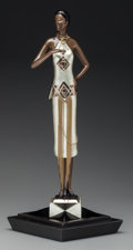 Bronze:Contemporary, An Erté Cold Painted Bronze Sculpture on Granite Base: CaféSociety, circa 1990. Marks: (artist's cipher), c 1...
