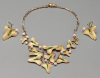 A Rare Three-Piece Marie-Claude Lalique Enameled 18K Gold Jewelry Suite, circa 1980 Marks: M.C. LALIQUE, FRANCE