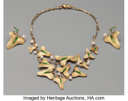 A Rare Three-Piece Marie-Claude Lalique Enameled 18K Gold Jewelry Suite, circa 1980 Marks: M.C. LALIQUE, FRANCE 15 inc... (Total: 3 Items)