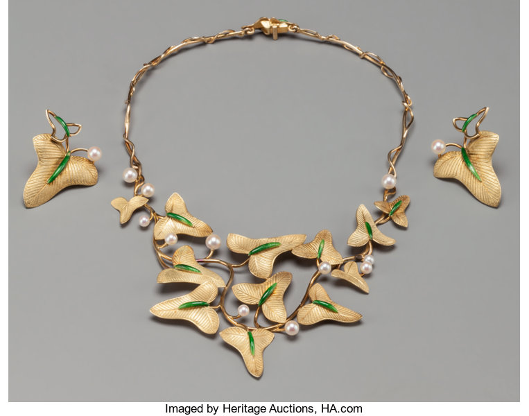 A Rare Three-Piece Marie-Claude Lalique Enameled 18K Gold