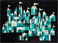 Mary Blair It's a Small World Building Concept Painting (Walt Disney, 1964)