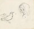 "Animation Art:Limited Edition Cel, Untitled (Bird and child sketch) | Graphite on paper |Canvas # 140 | Group 3. 10.5"" x 12.5"" . Artist: To Be Anno..."