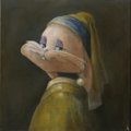 Animation Art:Limited Edition Cel, Honey Bunny with Pearl Earring | Water mixed oil | Canvas # 47 | Group 4. Artist: To Be Announced . Red Dot B...