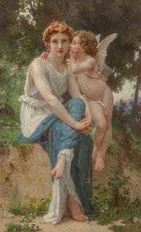 Guillaume Seignac (French, 1870-1924) Le secret d'Amour Oil on canvas 61-1/4 x 37-1/2 inches (155