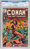 Bronze Age (1970-1979):Adventure, Conan the Barbarian #1 (Marvel, 1970) CGC VF- 7.5 Off-white to white pages....