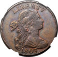 1803 1C Small Date, Small Fraction, S-255, B-14, R.1, AU53 NGC. CAC....(PCGS# 36380)