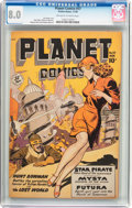 Golden Age (1938-1955):Science Fiction, Planet Comics #57 (Fiction House, 1948) CGC VF 8.0 Off-white towhite pages....