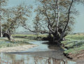 Fine Art - Painting, American:Contemporary   (1950 to present)  , Dale Peche (American, 20th Century). River and Fence. Oil onpanel. 11-3/4 x 15-3/4 inches (29.8 x 40.0 cm). Signed lowe...