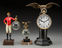 Three Figural Desk Clocks: Jockey and Eagles, circa 1920-1960 Marks to clock faces: TIFFANY & CO.; ETERNA 8 JOU...