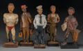 Decorative Arts, Continental:Other , Five German Carved Wood Whistling Automatons, 20th century. Marks:GERMANY. 13-1/2 inches high (34.3 cm). ... (Total: 5 Items)