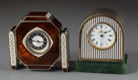 Two Miniature British and Austrian Art Deco Silver and Enamel Clocks, circa 1932 Marks: (lion passant), (leopard)