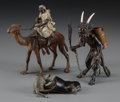 Decorative Arts, Continental:Other , Three Cold Painted Vienna Bronze Figures: Arab Man on Camel,Demon, Cat and Mouse, 20th century. 5-1/4 inches high (...(Total: 3 Items)
