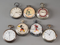 Eight Pocketwatches: Mickey Mouse, Bugs Bunny, Little Monte Carlo Maker unknown, 20th centur