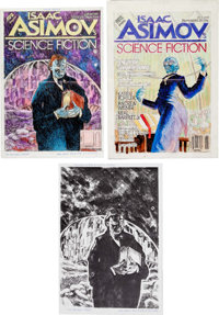 Hank Jankus Asimov's Science Fiction Magazine Feb-88 Preliminary Color Roughs Original Art Group of 2 (Penny Publi... (T...