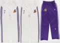 Basketball Collectibles:Uniforms, Derek Fisher Game Worn Los Angeles Lakers Pants Lot of 3....