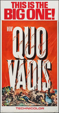 "Quo Vadis (MGM, R-1964). Three Sheet (41"" X 79""), Photos (5) (8"" X 10""), & Uncut Pressbook (12 P..."