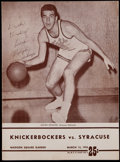 Basketball Collectibles:Programs, Dolph Schayes Signed Program....