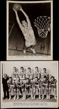 Basketball Collectibles:Photos, Dolph Schayes Signed Vintage Photographs Lot of 2....