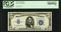 Small Size:Silver Certificates, Fr. 1650 $5 1934 Silver Certificate. PCGS Choice About New 58PPQ.. ...