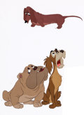 Animation Art:Production Cel, Lady and the Tramp Bull, Toughy, and Dachsie Production Cel(Walt Disney, 1955)....