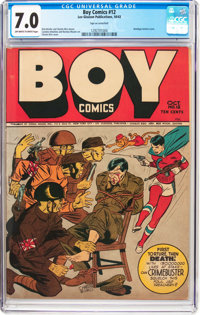Boy Comics #12 (Lev Gleason, 1943) CGC FN/VF 7.0 Off-white to white pages