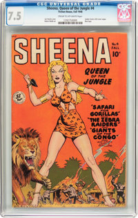 Sheena, Queen of the Jungle #4 (Fiction House, 1948) CGC VF- 7.5 Cream to off-white pages