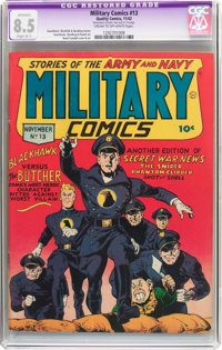 Military Comics #13 (Quality, 1942) CGC Apparent VF+ 8.5 Slight (B-1) Cream to off-white pages