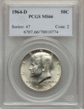 Kennedy Half Dollars, 1964-D 50C MS66 PCGS. PCGS Population (661/44). NGC Census:(343/11). Mintage: 156,205,440. Numismedia Wsl. Price for probl...