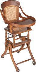 Furniture , A Victorian Oak and Cane High Chair Stroller, late 19th century. 39 inches high (99.1 cm). ...