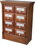 Furniture : French, An Oak Pharmaceutical Chest with Enameled Plaques, early 20thcentury. 34-1/2 h x 27-1/4 w x 12 d inches (87.6 x 69.2 x 30.5...