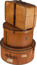 Decorative Arts, Continental:Other , A Group of Three Wooden Hat Boxes, late 19th/early 20th century.Marks to largest: (partial Red Star label). 9-1/2 h x 21-1/...(Total: 3 Items)