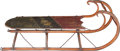 Furniture , A Victorian Painted Wood Child's Sled, early 20th century. 14-1/2 h x 12-1/2 w x 40-1/2 inches deep (36.8 x 31.8 x 102.9 cm)...