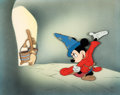Animation Art:Production Cel, Fantasia Mickey Mouse as the Sorcerer's Apprentice Production Cel Courvoisier Setup (Walt Disney, 1940)....