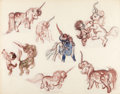 Animation Art:Concept Art, Fantasia Unicorns and Fawns Concept Art (Walt Disney,1940)....