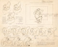 animation art:Model Sheet, Snow White and the Seven Dwarfs Doc, Dopey, Bashful, andGrumpy Model Sheet Original Art (Walt Disney, 1937)....