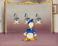 Animation Art:Production Cel, The New Spirit Donald Duck Production Cel Setup andBackground (Walt Disney, 1942)....