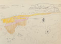 Fine Art - Work on Paper:Drawing, Fairfield Porter (American, 1907-1975). South Meadow, circa1972. Ink, pencil, and pastel on paper. 21-1/4 x 28-3/4 inch...