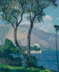 Paintings, Raymond Thibésart (French, 1874-1968). Coastal Villa. Oil on canvas. 27-3/4 x 21-1/2 inches (70.5 x 54.6 cm). Signed low...