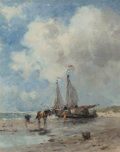 Fine Art - Painting, European:Modern  (1900 1949)  , Johan Frederik Cornelis Scherrewitz (Dutch, 1868-1951). Vissersmet bomschuit op het strand. Oil on canvas. 19-3/4 x 16 ...
