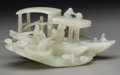 Asian:Chinese, A Chinese Carved Jade Figural Group: Three Trade Boats, 19thcentury. 2-1/4 h x 4-3/4 w x 3-1/4 d inches (5.7 x 12.1 x 8.3 c...