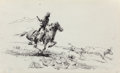 Works on Paper, Edward Borein (American, 1873-1945). Roping Calf. Ink on paper. 8-1/2 x 14 inches (21.6 x 35.6 cm) (sheet). ...