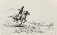 Edward Borein (American, 1873-1945) Roping Calf Ink on paper 8-1/2 x 14 inches (21.6 x 35.6 cm) (