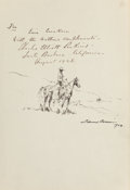 Fine Art - Work on Paper:Drawing, Edward Borein (American, 1873-1945). Rider Driving Steer andCowboy on Outlook (two works), 1928. Pencil on pap...(Total: 2 Items)