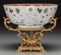 Asian:Chinese, A Chinese Export Porcelain Punch Bowl on Gilt Bronze Stand, 19thcentury in part. 4-3/4 h x 11 d inches (12.1 x 27.9 cm) (bo...(Total: 2 Items)