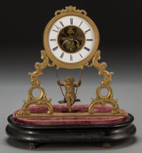 A French Gilt Bronze Clock with Figural Pendulum, late 19th century Marks: (eagle-arrows), ECHAPPEMENT BREVETE