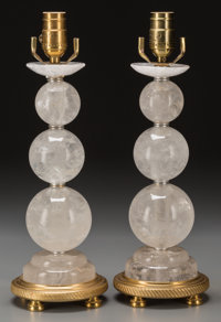 A Pair of Rock Crystal and Gilt Bronze Lamp Bases, 20th century 16 inches high (40.6 cm)