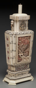 Asian:Chinese, A Chinese Carved Bone and Resin Lamp Base, 20th century. 27-1/2inches high (69.9 cm). ...